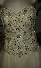 VICTORIA KAY  JEWELLED BASQUE  WHITE WEDDING DRESS UK8
