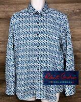 Robert Graham Men's Modern American Blue Floral Long Sleeve Button Down Shirt XL