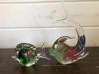 "2 Italian Murano Vintage Modern Art Glass Fish Paperweights  8.5"" and 3"""