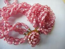 """Vintage Austria pink murano glass four strand necklace,stunning,high quality,18"""""""