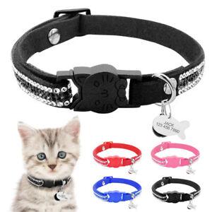 Rhinestone Suede Kitten Cat Breakaway Collar and ID Tag Anti-Lost Quick Release