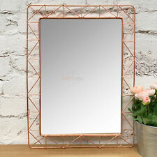 Industrial Retro Copper Wire Metal Frame Home Decorative Rectangle Wall Mirror