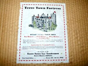 1930s TERRE TOWN Cardboard Toy FORTRESS CASTLE Playset Kit Doll House BOXED