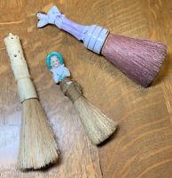 Vintage Brushes: One Bone, 2 Porcelain Half Dolls