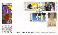 Chile 1993 FDC Pintura Chilena Santiago Capital Iberoamericana de la Cultura