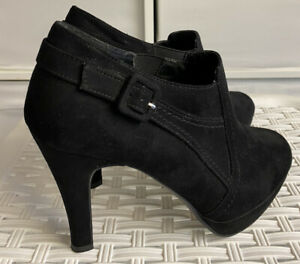 New Look UK Size 7(40) Black High Heel Shoe Boots - Elasticated Stretch Panel