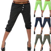 Damen Chino Sommer Capri Kurze Hose Stoffhose Hüfthose Bermuda Shorts Pants JO