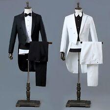 Mens Peak Lapel Tailcoat Suit Trousers Set Formal Dress Wedding Groomsman Tuxedo
