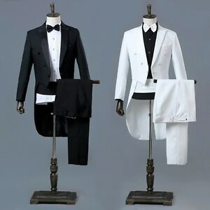 Men Peak Lapel Tailcoat Suit and Trousers Set Formal Dress Wedding Tuxedo Casual
