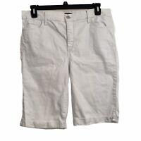 NYDJ Womens size 14 Solid White Mid Rise Cuffed Bermuda Stretch Denim Shorts