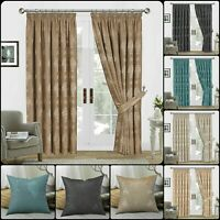 Luxury Fully Lined Pencil Pleat Curtains Pair Jacquard Tiebacks & Cushion Covers