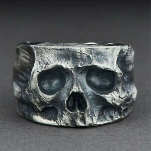 Gothic 925 Silver Ring for Men Black Skull Skeleton Ring Party Jewelry Size 13