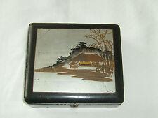 3 Antique Boxes -Black Wooden Box Oriental Scene, Jewellery Box & Trinket Box.