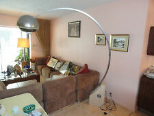 60s CHROME BOOM TELESCOPIC FLOOR LAMP W/ TRAVERTINE MARBLE BASE CASTIGLIONI ERA