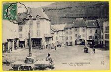 cpa Auvergne 15 - CHAUDES AIGUES (Cantal) Place du MARCHÉ Commerces Hôtel Café