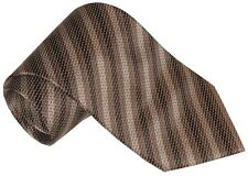 $275 NEW BRIONI BROWN BEIGE TAUPE TONES DIAGONAL STRIPE BEAVER TAIL SMOOTH TIE
