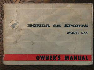 65-69 HONDA S65 SPORT 65 S ORIGINAL OEM OWNER'S DRIVER'S MANUAL 66 67 68