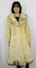 SHEARED LAMB FUR COAT NORWEGIAN FOX FUR TRIM REMOVABLE SWEEP Sz.S-M