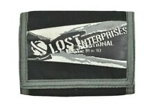Lost RIPOFF Black Grey White Graphic Logo Zip Pocket Tri-Fold Men's Wallet