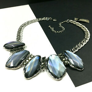 New CHICO'S Emilee Silver Bib Statement Necklace GREY Iridescent Stones KK101UD