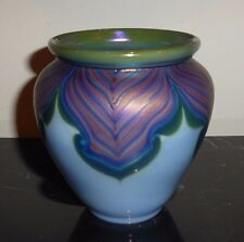 Zellique Studio Glass 1985 Blue Iridescent Vase