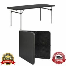 Portable Plastic Table Bi Fold Furniture Indoor Outdoor Party Picnic Black 6Ft