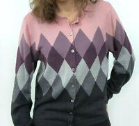 Pendleton Merino Wool Pink Purple Gray Argyle Cardigan Sweater Women's Medium