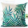 "18""Green Leaf Cotton Linen Cushion Cover Throw Pillow Case Sofa Home Decoration"