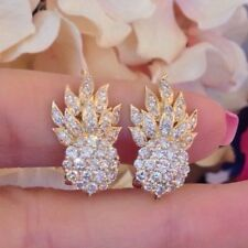 Estate Cluster Diamante Llama Pendientes en 18ct Oro Amarillo - hm1456