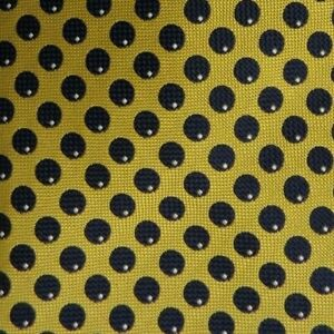 Gold Blue Polka Dot Silk Tie