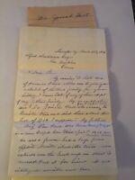 Handwritten Letter Dr Josiah Hart Lexington Kentucky 1874 Genealogy % CH Price