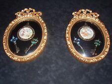 Hand Painted Miniature Porcelain Medallions In Gold Frames