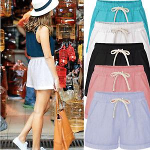 Womens Harem Elastic Waist Baggy Cotton Linen Casual Shorts Pants Plus Size New