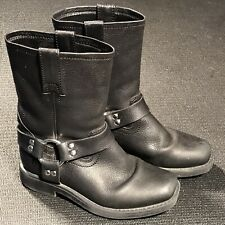 Frye Boots Size 12 Youth Black Leather Harness Pull-On Kids' Cowgirl Girls 97206