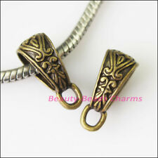 6Pc Antiqued Bronze Tone Flower Bail Bead Fit Bracelet Charms Connector 7x17.5mm
