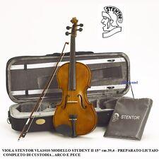 """VIOLA STENTOR STUDENT II VLA1010 15"""" cm39,4 PREPARATO CON CUSTODIA ARCO e PECE"""