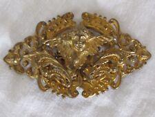 B5 Antique Victorian Repousse Brass Gilt Cherub Angel Belt Buckle Nouveau