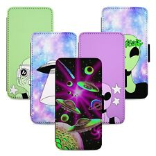 Trippy Aliens in Space Flip Phone Case Cover Wallet - Fits Iphone 5 6 7 8 X 11