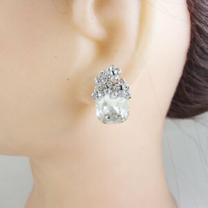 Fashion Bride Wedding Cubic Zirconia Crystal Artistic Style Earrings Clear