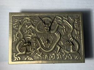 """Chinese Antique High Relief Brass Dragon Wood Lined Trinket Box Marked """"China"""""""