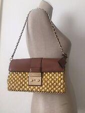 Michael Kors Walnut Brown Leather Straw Gabriella Large Clutch Shoulder Bag NWT