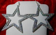 NORA WINN UNIQUE EARRINGS Big Silver GLITTER STAR 925 Dallas Cowboys 4th July