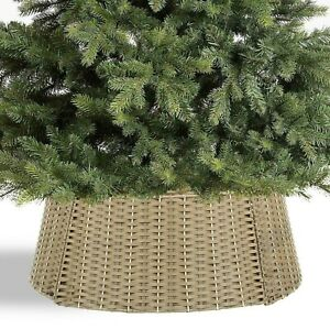 Large Beige Wicker Christmas Tree Skirt Xmas Stand Cover Decoration Basket Decor