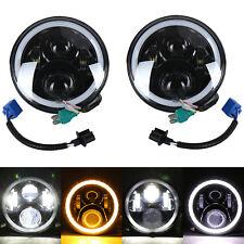 "2Pcs 7""LED Halo Angel Eyes Headlight 60W Headlamp Fit Jeep Wrangler JK TJ CJ5/7"