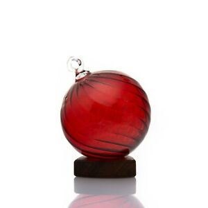 2X Transparent Red Ball hand Blown hanging christmas ornaments Ribbed Glass