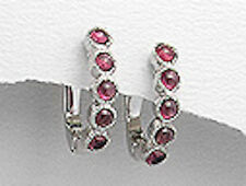 Solid Sterling Silver 20mm Red Garnet Line Earrings Posts with Clips 4.3g BEAUTY