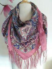 Traditional Russian Wool Warm Shawl Scarf Women Rose Pink Silk Fringe 47X47
