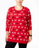 Charter Club Red White Black Bow Long Sleeve Sweater Womens Plus Size 1X 14W 16W