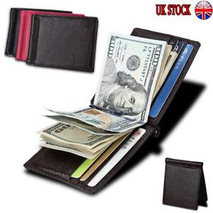 UK Mens Genuine Leather Mini Bifold Wallet Money Clip Slim Credit ID Card Holder