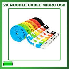 2X Cavo (Cavetto) Dati MICRO USB PIATTO NOODLE per SAMSUNG, NOKIA, HTC, LG, ETC